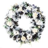 Christmas wreath decoration isolated. On white background royalty free stock images