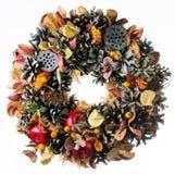 Christmas wreath decoration isolated. On white background royalty free stock photography