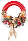 Christmas wreath decoration isolated. On white background stock image