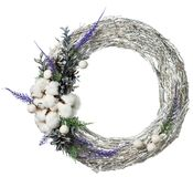 Christmas wreath decoration isolated. On white background royalty free stock photo