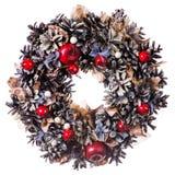 Christmas wreath decoration isolated stock image