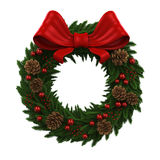 Christmas Wreath Decoration. Isolated on white background. 3D render Royalty Free Stock Photos