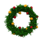 Christmas Wreath Decoration Isolated. On white background. 3D render Royalty Free Stock Photo