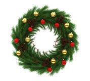 Christmas Wreath Decoration Isolated. On white background. 3D render Stock Photo