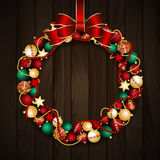 Christmas wreath decoration. From red and gold Christmas Balls with red bow knot. Vector illustration Royalty Free Stock Photo