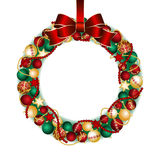 Christmas wreath decoration. From red and gold Christmas Balls with red bow knot. Vector illustration Royalty Free Stock Image