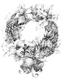 Christmas wreath, decoration sketch for New Year background. Christmas wreath, Christmas tree, Christmas flower, mistletoe decoration sketch for New Year Stock Photography