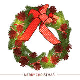 Christmas Wreath With Decoration. In Sketch Style Royalty Free Stock Images