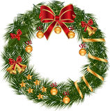 Christmas Wreath with decoration. A traditional Christmas wreath made decoration on a white background Royalty Free Stock Photos