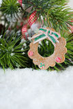 Christmas wreath decoration on tree Royalty Free Stock Image