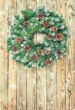 Christmas wreath decoration wooden background vintage toned royalty free stock images