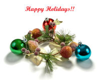 Christmas wreath and decorations Stock Images