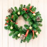 Christmas wreath for decorations on the door. Christmas background, new year, winter holiday royalty free stock photos