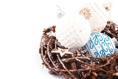 Christmas wreath with decorations. On white background royalty free stock photo