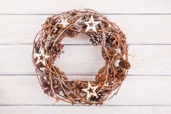 Christmas wreath with decorations. On white background stock photo