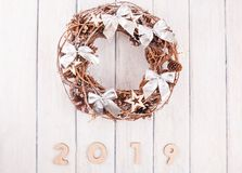 Christmas wreath with decorations. On white background stock photography
