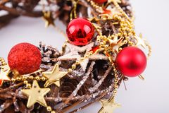 Christmas wreath with decorations. Isolated on white background stock photos