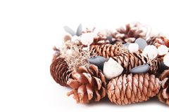Christmas wreath with decorations. Isolated on white background royalty free stock photo
