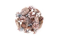Christmas wreath with decorations. Isolated on white background stock photo