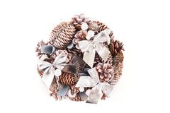 Christmas wreath with decorations. Isolated on white background royalty free stock photos