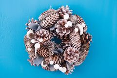 Christmas wreath with decorations. On white background royalty free stock photos