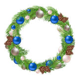 Christmas Wreath with Decorations and Pine cones Royalty Free Stock Image