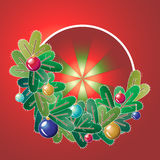 Christmas wreath with decorations. Vector illustration Royalty Free Stock Photography