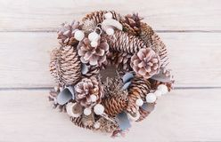 Christmas wreath with decorations. On white background stock images