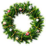 Christmas wreath with decorative beads and balls. Decorated wreath of pine branches isolated on white background. Qualitative vector (EPS-10) illustration for Stock Photos