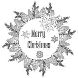 Christmas wreath with decorative items, Black and white .Vector coloring on a New Year theme. Festive card.  stock illustration