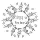 Christmas wreath with decorative items, Black and white .Vector coloring on a New Year theme. Festive card.  royalty free illustration