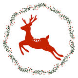 Christmas Wreath with Deer. Vector Christmas wreath with deer and branches Royalty Free Stock Images