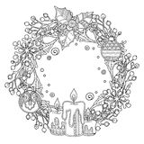 Christmas wreath in doodle style Royalty Free Stock Images