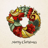 Christmas wreath in doodle style. Round composition wreath in doodle style. Floral, ornate, decorative, tribal, Christmas decor. Zentangle vintage color greeting Stock Image