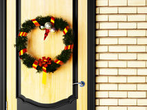 A Christmas wreath on door Stock Images