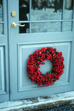 Christmas wreath. A christmas wreath on the door royalty free stock photography