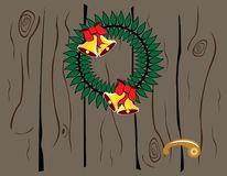 Christmas Wreath on a Door. Festive christmas wreath with bells on a wood door. Holiday cartoon illustration, card, banner, pattern, background for design and Royalty Free Stock Images