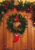Christmas wreath on door stock photo