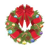 Christmas wreath on the door. Wreath from the Christmas tree with ribbons and toys. Vector illustration for children. stock illustration