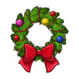 Christmas wreath drawing. Colorful hand drawing Christmas wreath on a white background. Vector Stock Photo