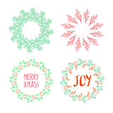 Christmas wreath drawn. Vector set Royalty Free Stock Images