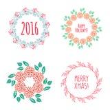 Christmas wreath drawn. Vector set Stock Photos