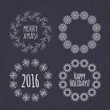 Christmas wreath drawn. Vector set Royalty Free Stock Photography