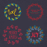 Christmas wreath drawn. Vector set Royalty Free Stock Photography