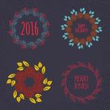 Christmas wreath drawn. Vector set Royalty Free Stock Photos