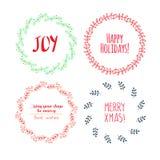 Christmas wreath drawn. Vector set Stock Image