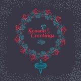 Christmas wreath drawn. Vector set Royalty Free Stock Image
