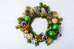Christmas wreath dried oranges, pine cones and cinnamon sticks Stock Image