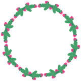 Christmas wreath evergreen branch with red flowers Royalty Free Stock Photography