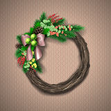 Christmas Wreath. Evergreen holiday wreath with bow and red berries in circular shape. Vector illustration Royalty Free Stock Photo